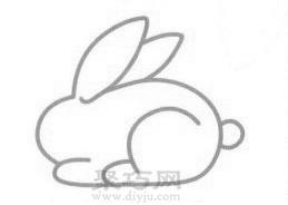 兔子簡筆畫的畫法步驟3