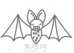 蝙蝠简笔画的画法步骤4