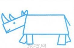 教你畫最簡單可愛的卡通犀牛簡筆畫