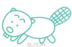 動物簡筆畫之Q版肥胖的海貍的畫法