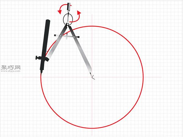 用圆规画一个完美的六边形画法步骤 1