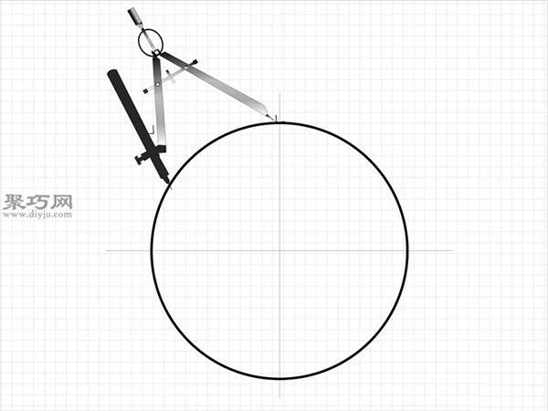 用圆规画一个完美的六边形画法步骤 2