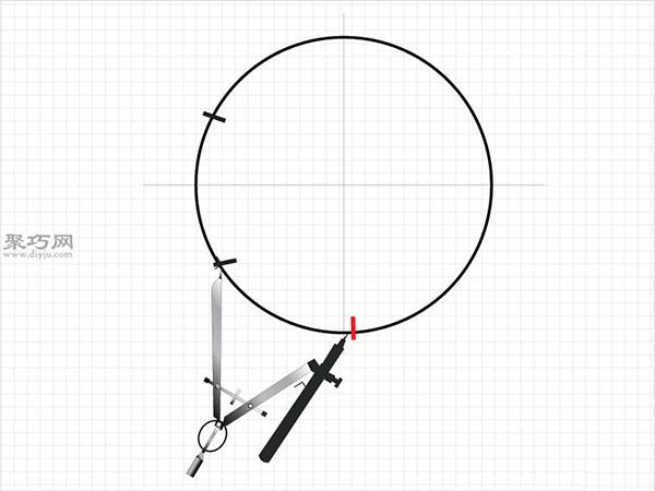 用圆规画一个完美的六边形画法步骤 5