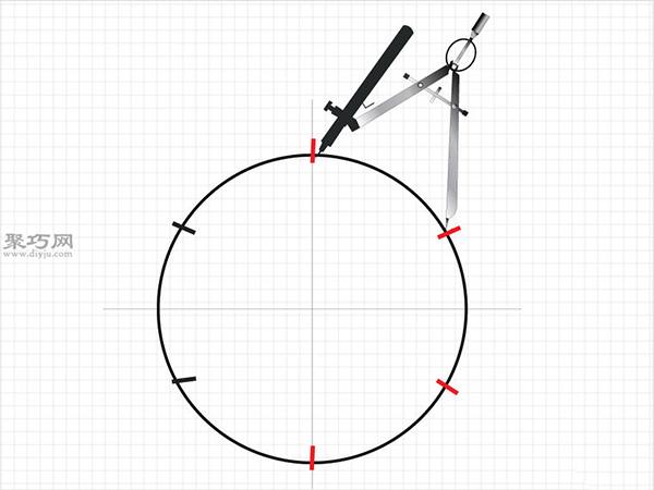 用圆规画一个完美的六边形画法步骤 6