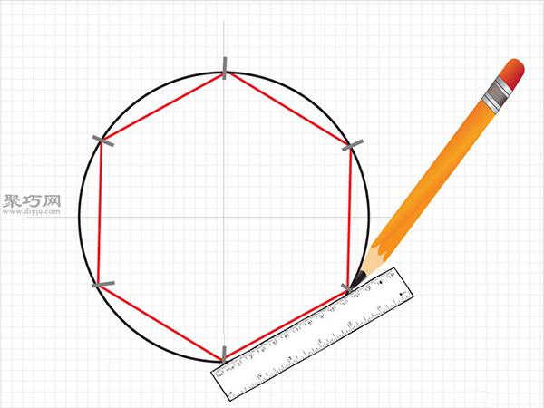 用圆规画一个完美的六边形画法步骤 7