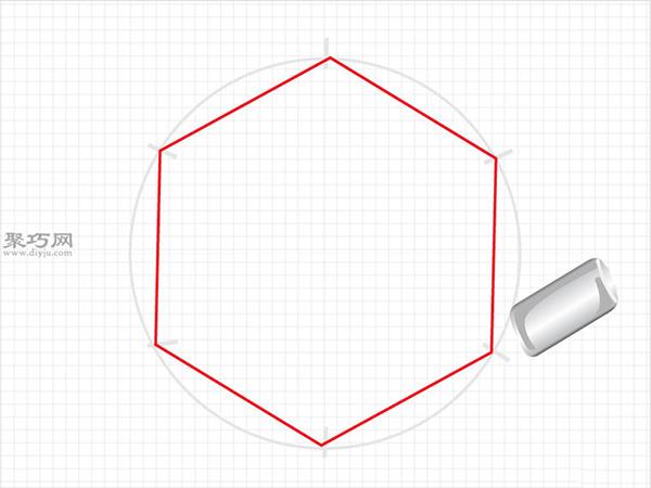 用圆规画一个完美的六边形画法步骤 8
