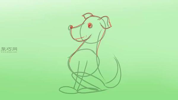 坐着的侧面卡通狗的画法