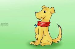 坐著的側面卡通狗的畫法 一起學畫一只狗步驟