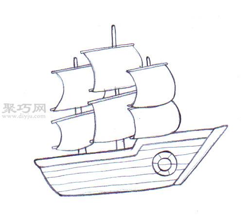 传统船的画法 6