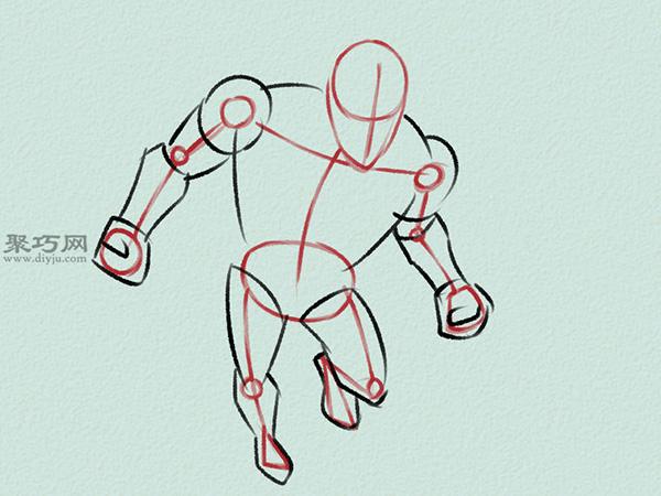 飞行的钢铁侠画法步骤 2