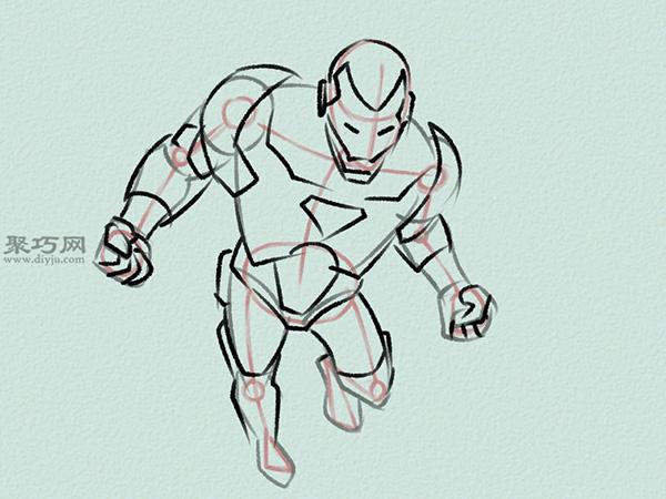 飞行的钢铁侠画法步骤 3