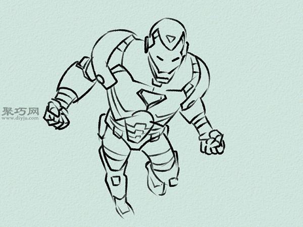 飞行的钢铁侠画法步骤 4