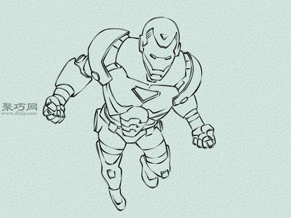 飞行的钢铁侠画法步骤 5