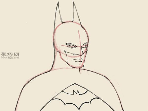 怎么样画蝙蝠侠的头部 10