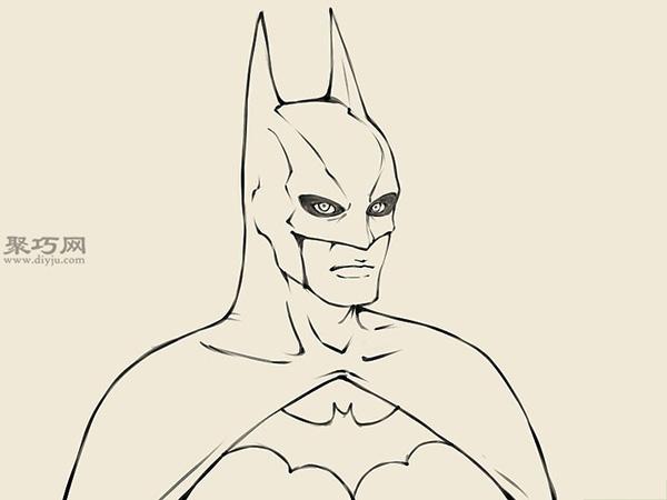 怎么样画蝙蝠侠的头部 12