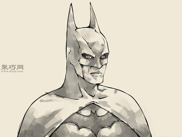 怎么样画蝙蝠侠的头部 13
