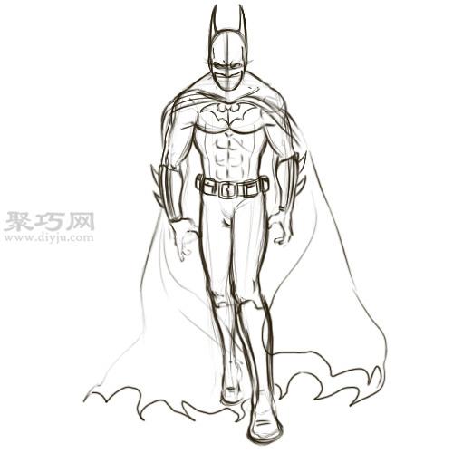 怎么画蝙蝠侠的头罩 手绘蝙蝠侠图片教程