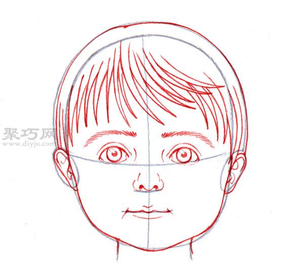 画出脸上的五官,比如大大的眼睛,浓密的眉毛,可爱的小鼻子和小嘴巴等.