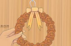 手工DIY毛氈橙色玫瑰花環教程 教你萬圣節花環怎么做