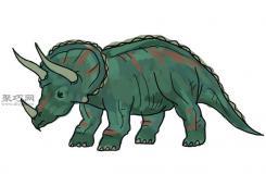 三角龍的畫法 一起學畫恐龍步驟