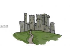 山麓城堡畫法教程 一起學畫城堡步驟