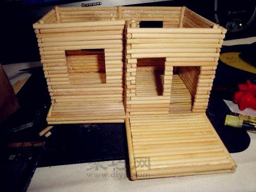 一次性筷子手工制作小房子