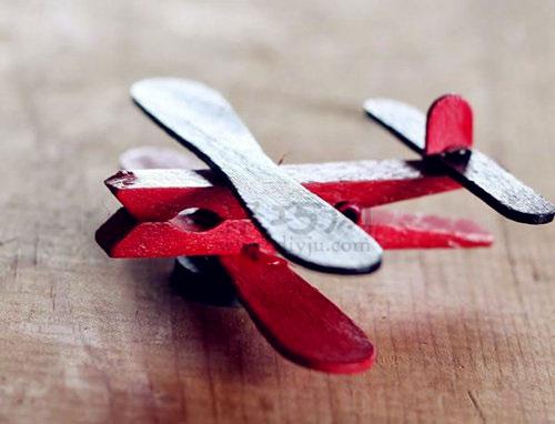 雪糕棍手工制作飞机 衣夹和冰棍棒diy迷你飞机