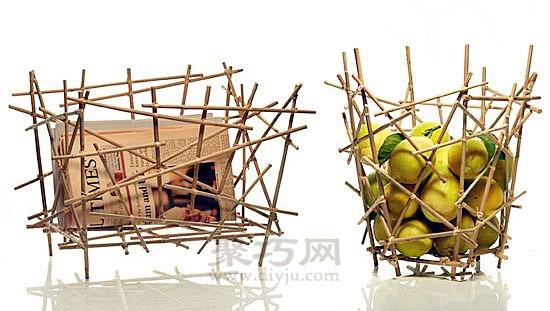 一次性筷子手工艺品 diy果篮