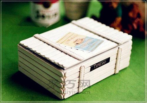 冰棍棒手工制作收纳小木箱 雪糕棍diy实用小物件图片