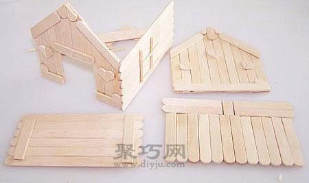雪糕棍冰棍棍diy可爱的小房子步骤图解教程