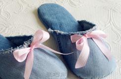 廢舊牛仔褲手工制作棉拖鞋方法 舊衣物巧利用
