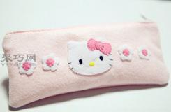 Hello Kitty卡通�P袋DIY教程 6步�W��如何自制布��P袋