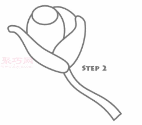 玫瑰花簡筆畫第2步