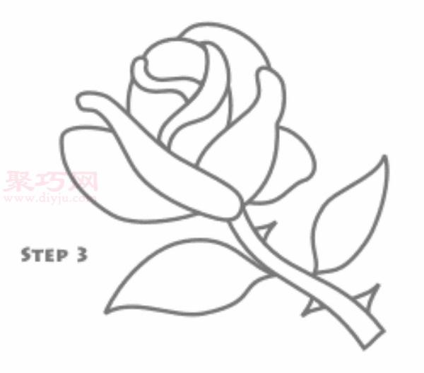 玫瑰花簡筆畫第3步