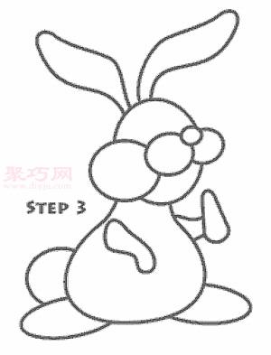 卡通兔子簡筆畫第4步