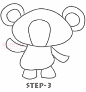 可愛小熊簡筆畫第4步