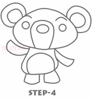 可愛小熊簡筆畫第5步