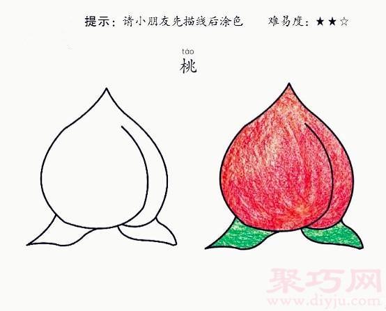 桃子简笔画第6步