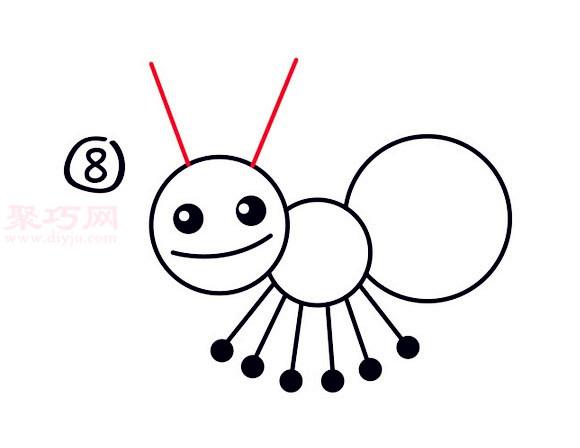 简易画小蚂蚁的步骤 画小蚂蚁的简笔画图片