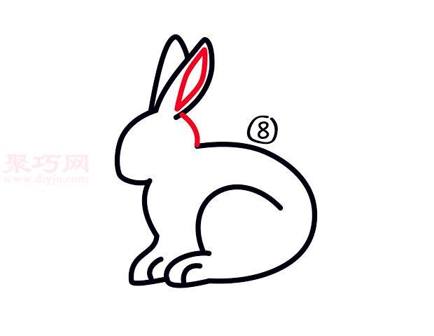 大白兔简笔画第8步