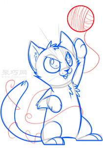 小猫玩毛线球的步骤 画小猫玩毛线球的简笔画图片