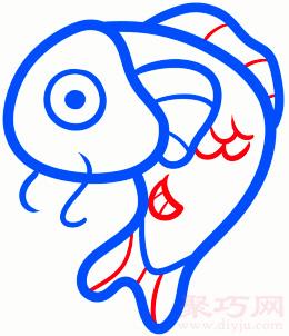 錦鯉魚簡筆畫第4步