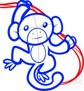 長臂猿簡筆畫第6步