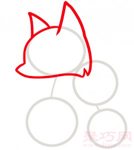 狐狸简笔画第2步