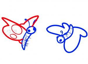 两只蝴蝶简笔画第7步