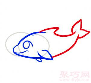 海豚簡筆畫第4步