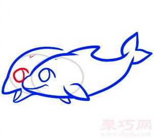 海豚簡筆畫第6步
