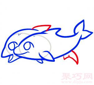 海豚簡筆畫第7步