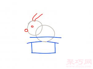 帽子變魔術兔子簡筆畫第3步