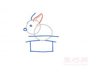 帽子變魔術兔子簡筆畫第4步
